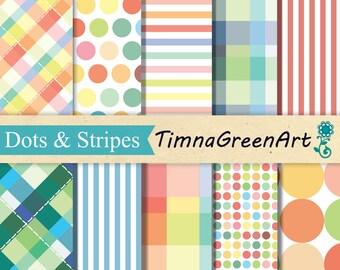 Digital SCRAPBOOKING Paper Pack Pastel Party Dots & Stripes Printable Backgrounds Instant Download