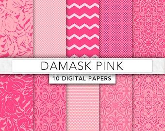 Pink digital Paper,Pink Damask paper, Pink paper, damask patterns,instant download - DAM005