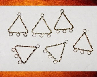 Components - Set of 6 Two-Tone Silver Large Triangle Connectors for jewelry making. #FIND-115