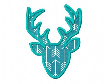 INSTANT DOWNLOAD. Deer head applique embroidery design. Doe, Bambi, Moose. Gazelle. Spring Buck. animal.  Design. Digitizing.  Digital file.