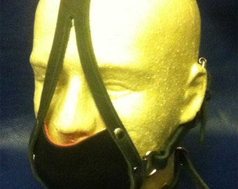 Black with red trim Ball gag muzzle head harness fetish BDSM Mature