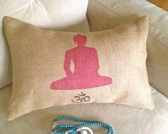 BUDDHA- OHM PILLOW, Insert Included,Natural Burlap