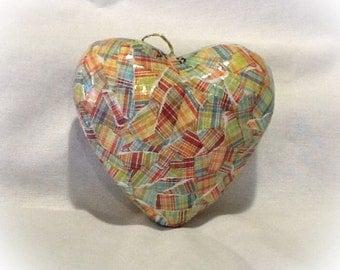 Ornament / Heart Ornament / Christmas Ornament / Valentine's Ornament / Mother's Day Ornament / MultiColor Plaid / Paper Mâché Ornament