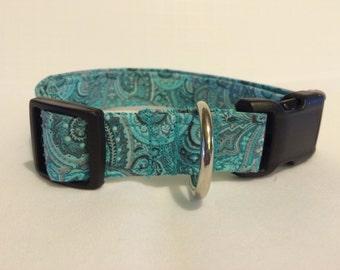 Teal & Gray Paisley Dog Collar