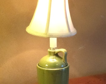 Vintage Kitchen Lamp, Ceramic Green Jug Lamp, Kitchen Counter Lamp, Farmhouse Cottage, Cottage Chic, French Country, Beach House Cottage