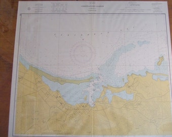 Christiansted Harbor ~ St. Croix, West Indies - Caribbean Sea - with yellow and blue colors for land and sea - Nautical Chart #1852