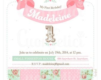 First Birthday Girl Invitation. Girl Turning 1...