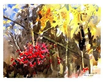 Original Watercolor, Fall Woods