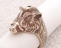 """Boar. Men's ring Wild Boar. Bronze Signet boar's head. Viking ring """"Wild Boar""""."""