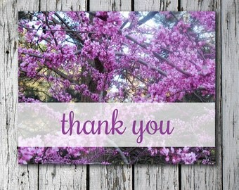 Printable folded thank you card with photo of purple flowers