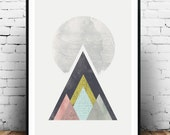 minimalist abstract art, Geometric print, Mountains print, Nordic design, Pastel colors print, ABstract poster, Triangles print, home art