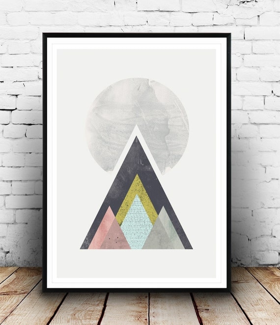 Mountains print geometric wall art abstract print abstract for Minimal design art