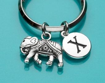 Elephant Keychain, Thai Elephant Key Ring, Elephant Charm, Initial Keychain, Personalized Keychain, Custom Keychain,Charm Keychain, 401