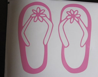 Flip Flops Beach Vinyl Decal / Sticker *Available in 24 Colors* | flip flop |