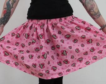 Cute pink Hersheys Kisses heart print A-line skirt multi-size