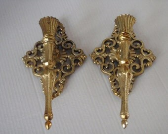 Vintage Pair Brass Brass-like Candle Sconces - Ornate!