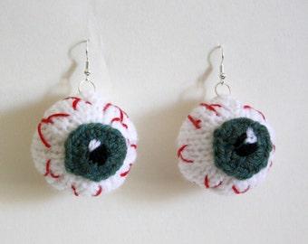 Knitted Eyeball Pendant Earring