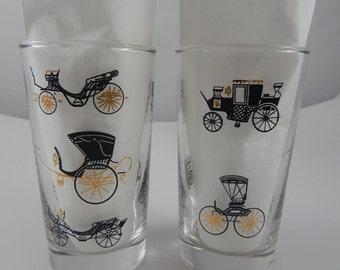 Set of 2 Libbey Tumblers gold and black glasses