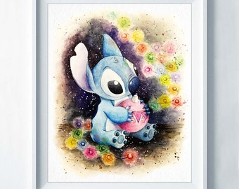 Stitch Watercolor Art Print Watercolour Illustration Disney Poster Nursery Art Decoration Baby Shower Gift Kids Room Children Decor A83