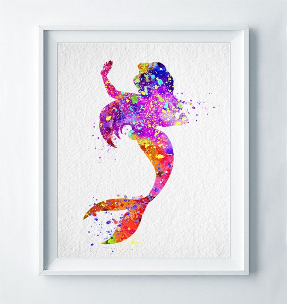 Mermaid Gifts Mermaid Decor Mermaid Art Print Mother S: Ariel Art Print Mermaid Print Nursery Art Colorful Disney Home