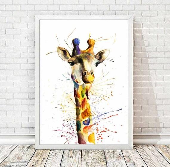 Célèbre Girafe imprimer affiche animaux aquarelle peinture abstraite BW97