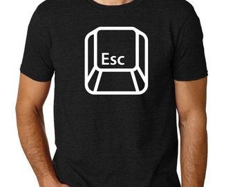 Escape button t-shirt, computer geek tee, Mens, S, M, L, XL, XXL