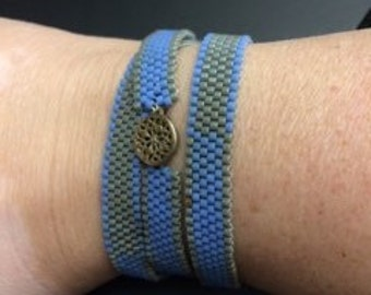 Blue and silver  peyote wrap around  bracelet. Customization available!