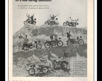 "Vintage Print Ad October 1965 : Harley Davidson Motorcycle Wall Art Decor 8.5"" x 11"" Print Advertisement"