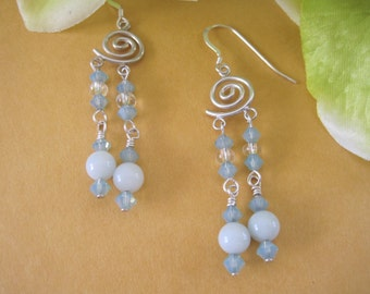 Dangle with Sterling Silver spiral ear hooks