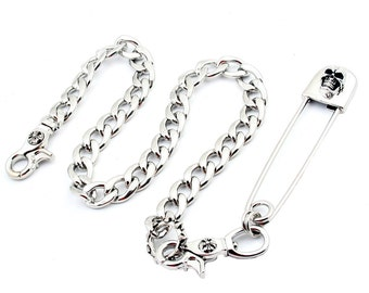 "DoubleK 2 in 1 Big Safety Pin Holder Key Jean Wallet Chain NCS36 (29"" * 8.8oz) Silver"