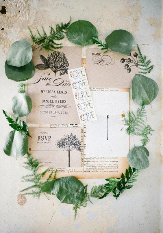 Botanic Garden Wedding Invitations Printable Template Set Of 4 Kraft Paper