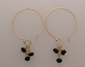 Solid 18k yellow gold hoop earrings with Etruscan chain links & faceted black spinel drops