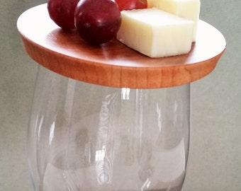 Wine glass Appetizer topper / plate set of 4