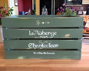 Hand Painted French Bakery Crate (Sage)
