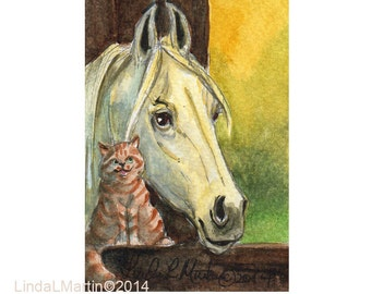 Akhal Teke Horse Tabby Cat  by llmartin Original ACEO Watercolor