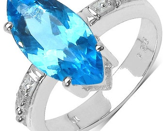 1.51 Carat Genuine Swiss Blue Topaz & White Diamond Top Quality Handcrafted 925 Sterling Silver Ring