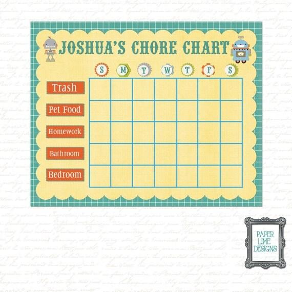 Chore Chart Kids Chore Chart Kids Behavior By PaperLimeDesigns
