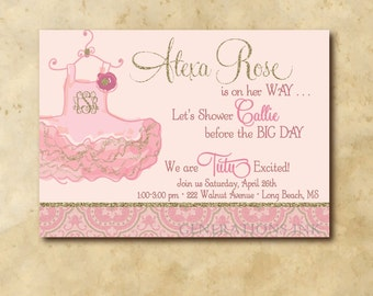 Baby Girl Shower Invitation with Gold Glitter and Tutu Design / digital file / custom monogram in tutu /printable / wording can be changed