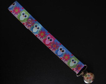 bright owl pacifier clip dummy clip baby girl