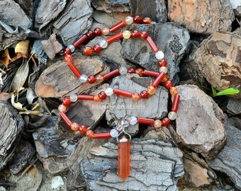 Red Agate and Carnelian Pointer Pendant Necklace