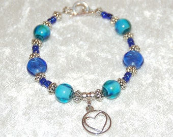 Turquoise & Blue Glass Bead Bracelet with Heart Charm