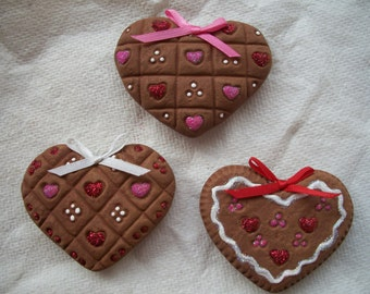 valentine ceramic heart refrigerator magnets,set of 3