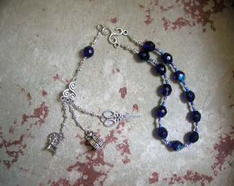 Pocket Prayer Beads for the Fates (Moirai): Greek Goddesses of Fate, Clotho who Spins, Lachesis who Measures, Atropos who Cuts the Thread