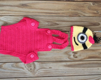 Hand made crochet Minion outfit for a 9- 12 month old baby