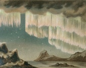 "Antique German ""Polarlichter"" Aurora Borealis Chromolithograph Print"