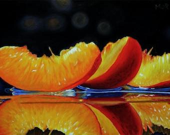 Nectarine Slices soft pastel drawing fruit