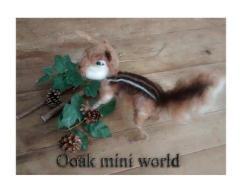 needle felted chipmunk sculpt sculpture great for animal collector , needle felt , art doll  collector . fibre art critter character .
