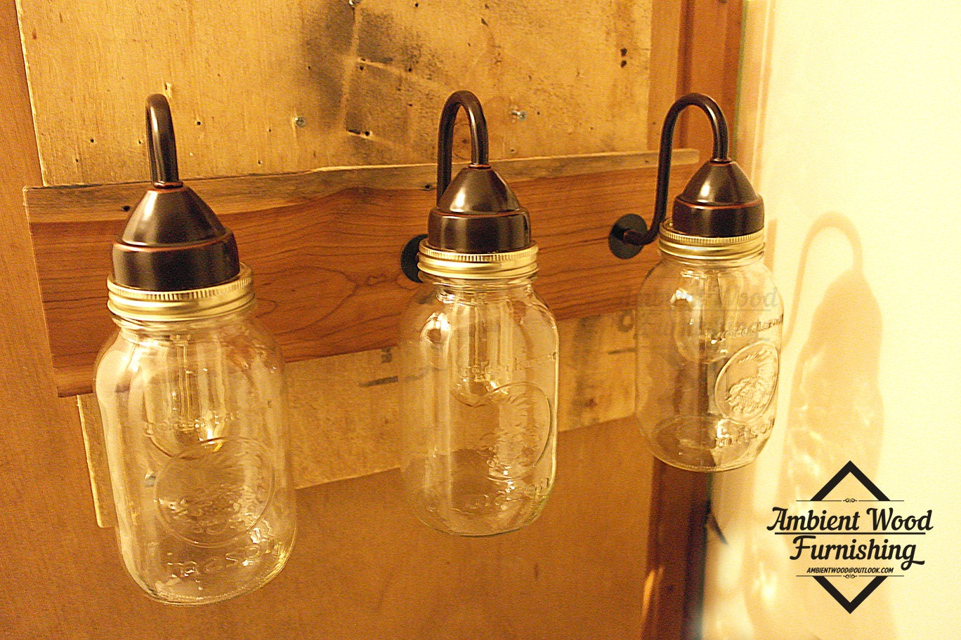 Bathroom Barn Wood Mason Jars Vanity Bar Light by AmbientWood