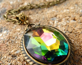 Iridescent Fire Stone Necklace, Gift for her, Mothers day gift