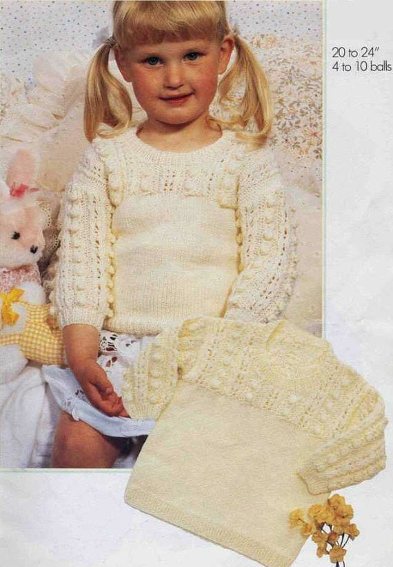 Knit Bobble Sweater Vintage Pattern Baby Toddler Jumper